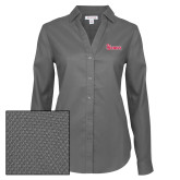 Ladies Red House Diamond Dobby Charcoal Long Sleeve Shirt-St Johns