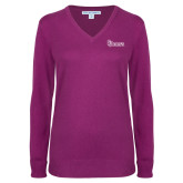Ladies Deep Berry V Neck Sweater-St Johns