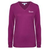 Ladies Deep Berry V Neck Sweater-St Johns