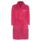 Ladies Pink Raspberry Plush Microfleece Shawl Collar Robe-St Johns