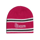 Pink/Charcoal/White Striped Knit Beanie-St Johns