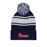 Navy/White Two Tone Knit Pom Beanie with Cuff-St Johns
