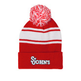 Red/White Two Tone Knit Pom Beanie with Cuff-St Johns