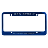 Metal Blue License Plate Frame-Red Storm