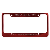 Metal Red License Plate Frame-Red Storm