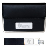 Business Card Case and Key Ring Set Black-St Johns Engraved