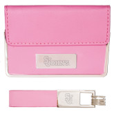 Business Card Case and Key Ring Set Pink-St Johns Engraved