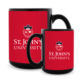 Full Color Black Mug 15oz-University Mark Stacked