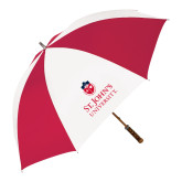62 Inch Red/White Vented Umbrella-University Mark Stacked
