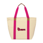 Natural/Tropical Pink Saratoga Tote-St Johns