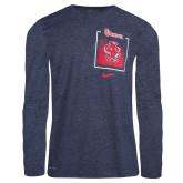 NIKE Navy Heater Long Sleeve TShirt-