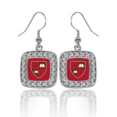 Crystal Studded Square Pendant Silver Dangle Earrings-Official Shield
