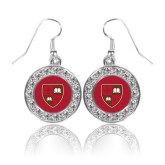Crystal Studded Round Pendant Silver Dangle Earrings-Official Shield