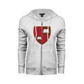 ENZA Ladies White Fleece Full Zip Hoodie-Official Shield