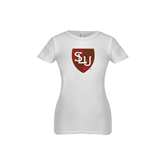 Youth Girls White Fashion Fit T Shirt-SLU Shield