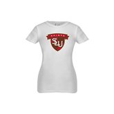Youth Girls White Fashion Fit T Shirt-Saints SLU Shield