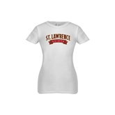 Youth Girls White Fashion Fit T Shirt-Arched St. Lawrence Saints