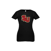 Youth Girls Black Fashion Fit T Shirt-SLU