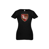 Youth Girls Black Fashion Fit T Shirt-SLU Shield
