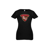 Youth Girls Black Fashion Fit T Shirt-Saints SLU Shield