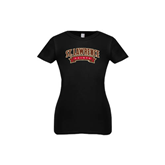 Youth Girls Black Fashion Fit T Shirt-Arched St. Lawrence Saints