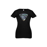 Youth Girls Black Fashion Fit T Shirt-Saints Shield Foil