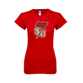 Next Level Ladies SoftStyle Junior Fitted Red Tee-SLU Flag