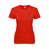 Ladies Red T Shirt-Official Shield