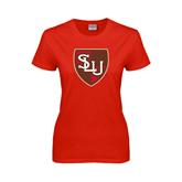 Ladies Red T Shirt-SLU Shield