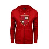 ENZA Ladies Red Fleece Full Zip Hoodie-Official Shield