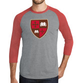 Grey/Red Heather Tri Blend Baseball Raglan-Official Shield