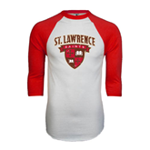 White/Red Raglan Baseball T-Shirt-Official Logo Distressed