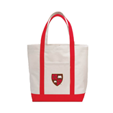 Contender White/Red Canvas Tote-Official Shield