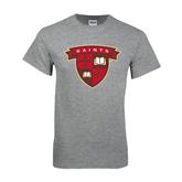 Grey T Shirt-Saints Shield