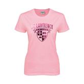 Ladies Pink T Shirt-Saints Shield Foil