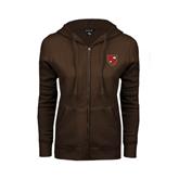 ENZA Ladies Brown Fleece Full Zip Hoodie-Official Shield