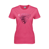 Ladies Fuchsia T Shirt-Saints Shield Foil