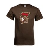 Brown T Shirt-SLU Flag