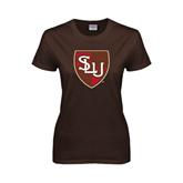 Ladies Brown T Shirt-SLU Shield
