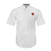 White Twill Button Down Short Sleeve-Official Shield