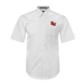 White Twill Button Down Short Sleeve-SLU