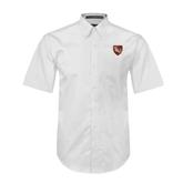 White Twill Button Down Short Sleeve-SLU Shield
