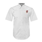 White Twill Button Down Short Sleeve-SLU Flag