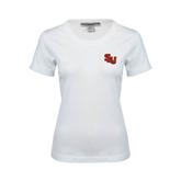 Ladies White Stretch Scoop Neck-SLU