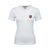 Ladies White Stretch Scoop Neck-SLU Shield