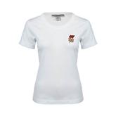 Ladies White Stretch Scoop Neck-SLU Flag