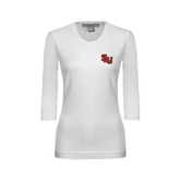 Ladies White 3/4 Sleeve Scoop Neck-SLU