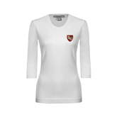Ladies White 3/4 Sleeve Scoop Neck-SLU Shield