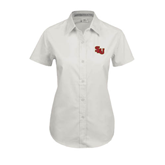 Ladies White Twill Button Up Short Sleeve-SLU