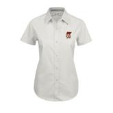 Ladies White Twill Button Up Short Sleeve-SLU Flag